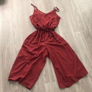 Pants - Burnt Orange Striped Jumpsuit